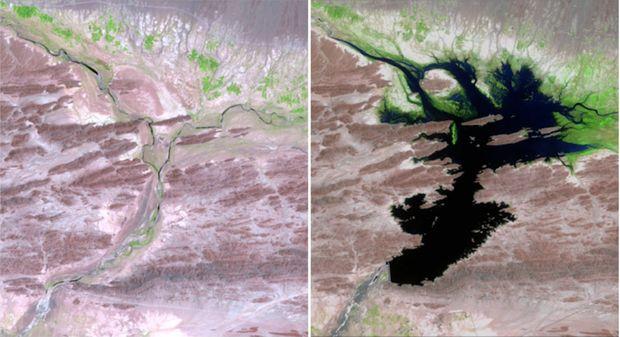 Pakistanská Dasht River v auguste 1999 vs. v júni 2011. (Foto: NASA)