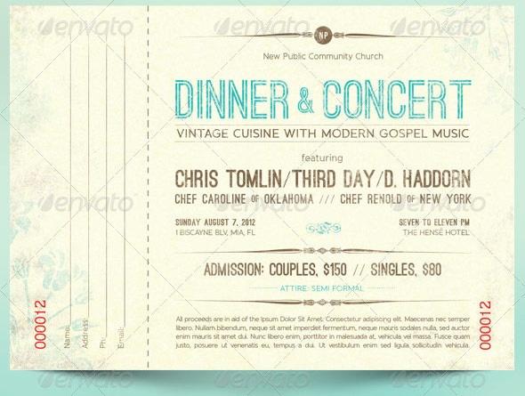 Vintage Dinner Concert Ticket Ticket Design Template Ticket Template Ticket Template Free