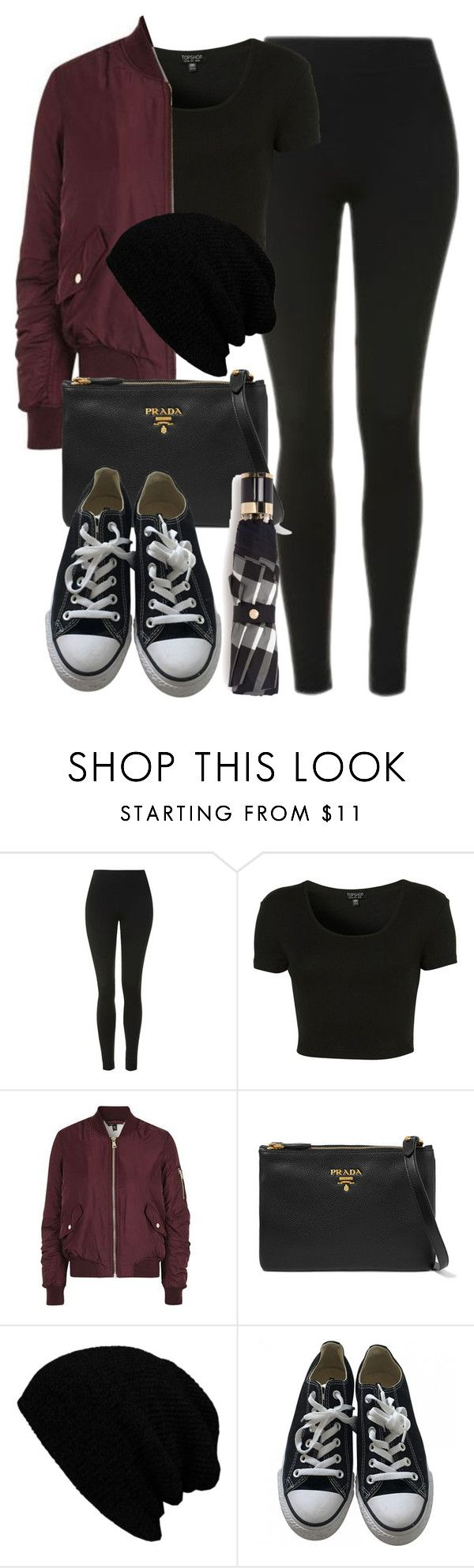 """""""Style #11078"""" by vany-alvarado ❤ liked on Polyvore featuring Topshop, Prada, KBETHOS, Converse and Burberry"""