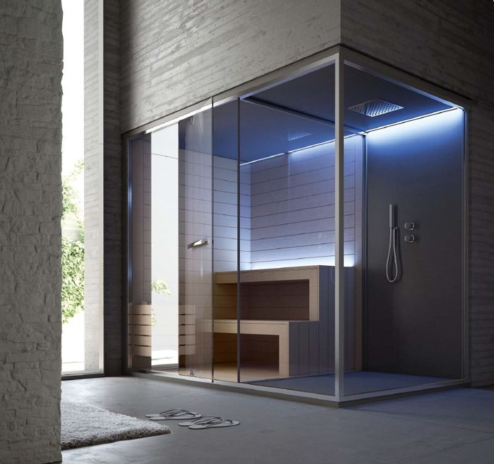 32 fantastiche immagini su architettura spa wellness for Bagno con piani sauna