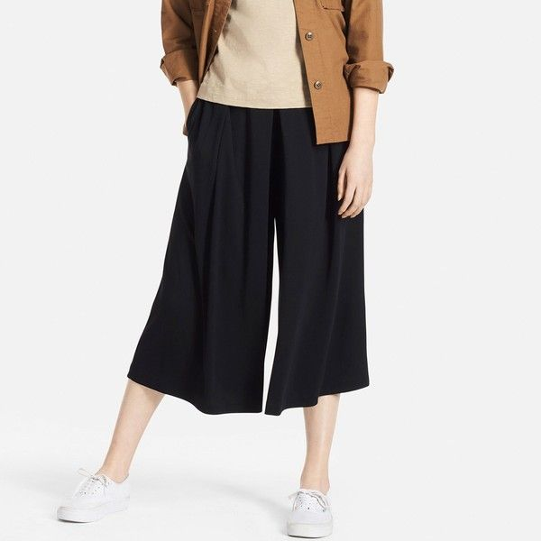 UNIQLO Women's Jersey Cropped Flare Wide Pants ($20) ❤ liked on Polyvore featuring pants, capris, black, jersey pants, relaxed fit pants, ponte knit pants, uniqlo and loose pants
