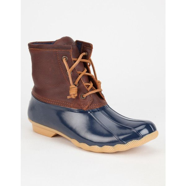 SPERRY Saltwater Womens Duck Boots ($120) ❤ liked on Polyvore featuring shoes, boots, navy combo, navy blue boots, navy boots, leather lace up boots, waterproof boots and genuine leather boots
