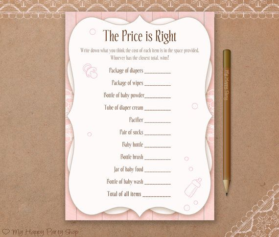 The Price is Right Card, Pink Baby Shower, Printable, baby shower price is right, girl baby shower, baby shower games, instant download