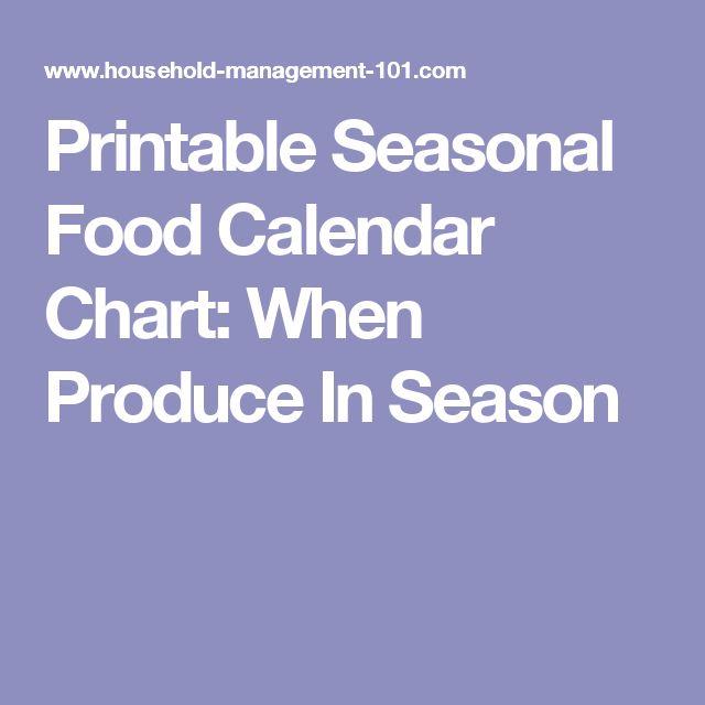 Printable Seasonal Food Calendar Chart: When Produce In Season