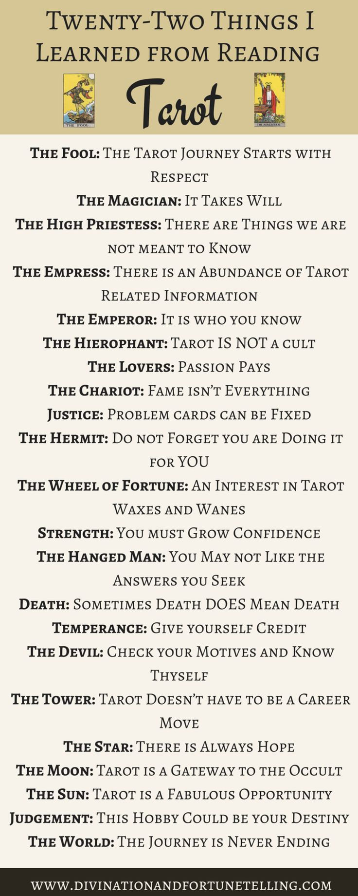 Illustration: The 22 things I learned from reading Tarot cards inspired by the major arcana. When I was a beginner, although I was exposed to divination through being a Romany Gypsy, there was a lot about Tarot which I didn't understand. Now I am used what I have learned to give tips to other would be fortune tellers who are just learning how to read the cards whether thats to make predictions about love, and money or for healing. Cards used in this image are the rider waite smith...