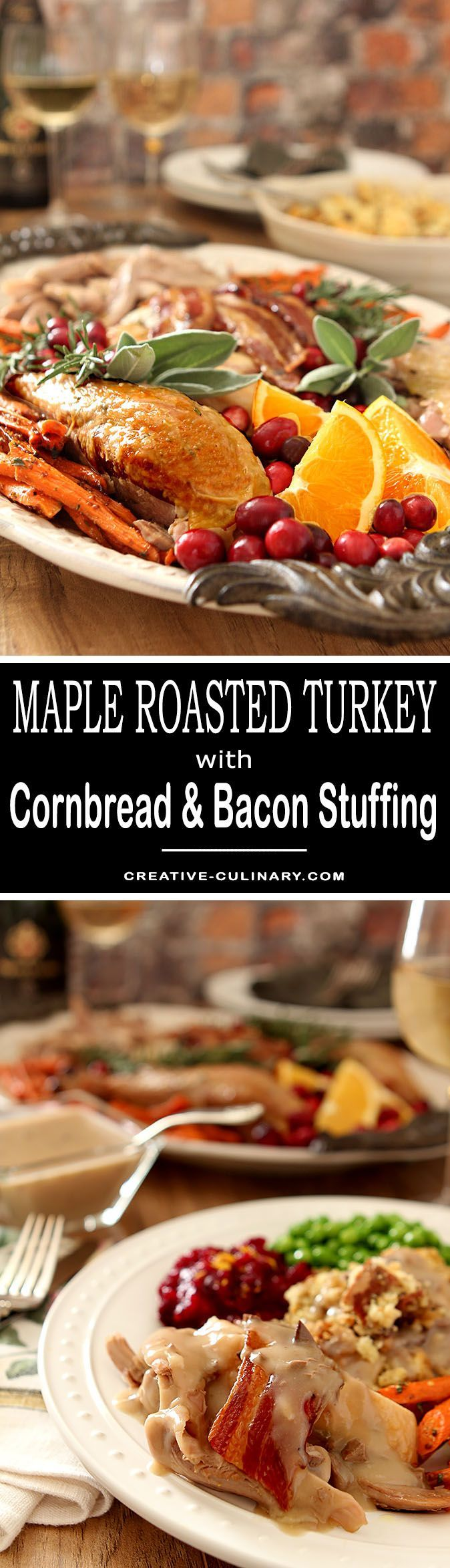 This Maple-Roasted Turkey with Sage, Bacon, and Cornbread Stuffing is quite simply the best bird I've ever had.  via @creativculinary
