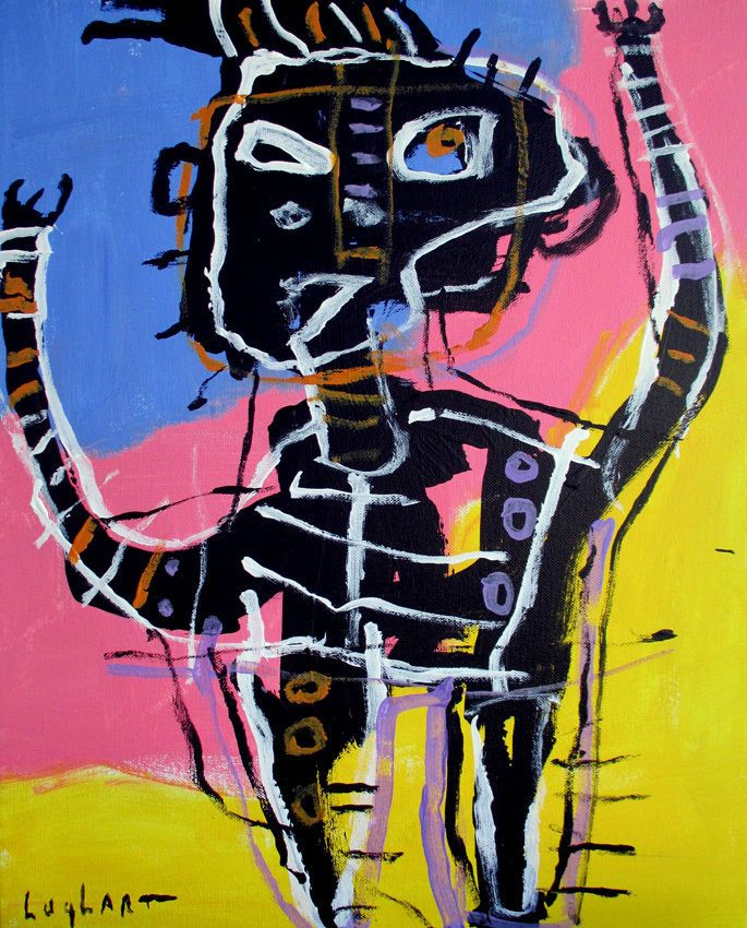 original HUGHART abstract outsider Basquiat inspired pop