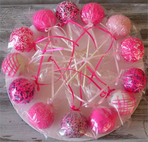 Hot Pink Cake Pops made with homemade by SimplyDivineDesserts