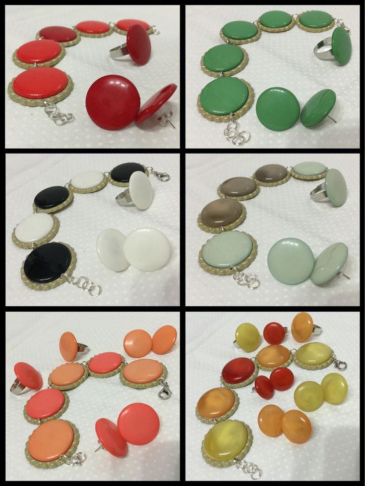 parure braccialetti  anelli  orecchini  bottoni vintage