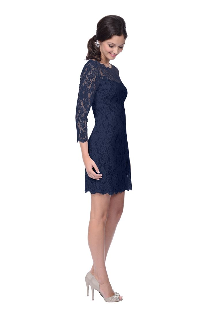 a long sleeve lace bridesmaid dress in navy