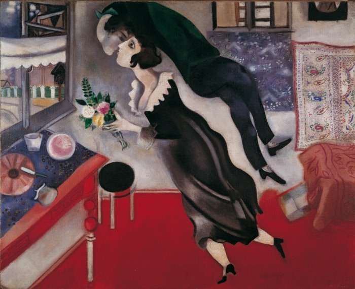 USA, New York, Solomon R. Guggenheim Museum. Whole artwork view. The work was painted by Chagall to remember his birthday in 1914. At that time he stop during a trip on Vitebsk to greet Bella Rosenfeld, his girlfriend and future wife, in that occasion he present her with a bouquet of flowers. MONDADORI PORTFOLIO/Walter Mori