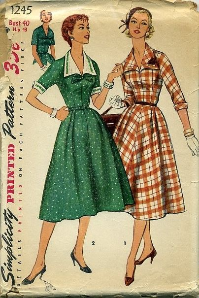 1950s pattern Simplicity 1245 dress with detachable collar and cuffs 40 bust.