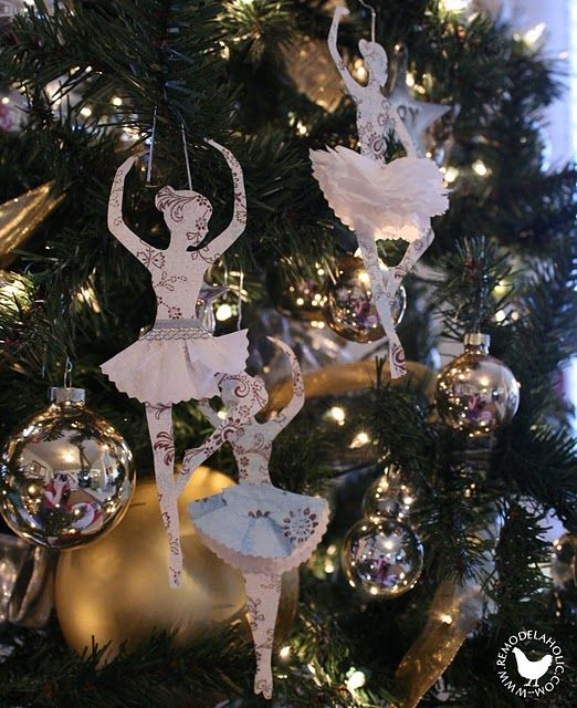Paper and tissue paper dancing ballerinas tutorial @ Remodelaholic.: Ballerinas Paper, Ballerinas Ornaments, Dancers Ornaments, Paper Ornaments, Sheet Music, Paper Ballerinas, Christmas Ornaments, Christmas Ideas, Paper Christmas Decorations