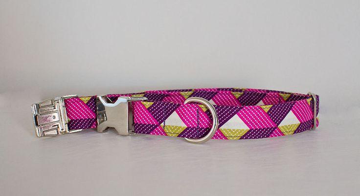 Dog Collar-Large Dog Collar-Small Dog Collar-Female Dog Collar-Purple Dog Collar-Plaid Dog Collar-Herringbone Dog Collar-Designer Collar by SLWdesignsCo on Etsy