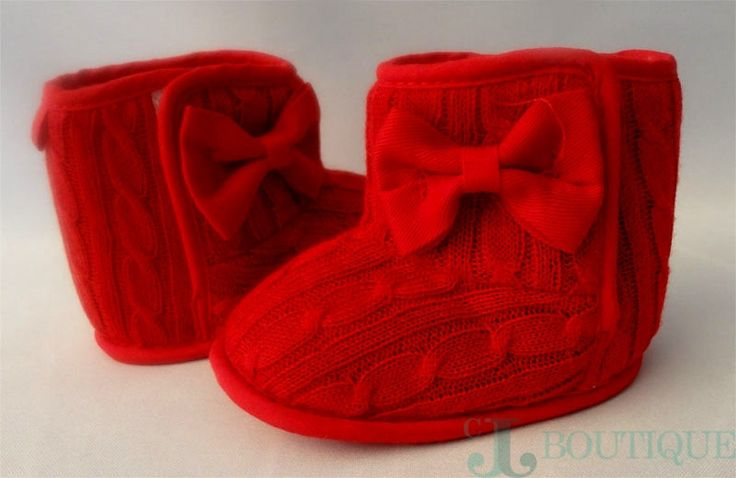 Baby Girl Winter Boots Adorable Infant Girls Knitted Bowknot winter boots. - Gender: Baby Girl - Color: Red - Size: 2 - Size: Fit For 3-12 Months Baby - Item Type: First Walkers - Material: Knitting C
