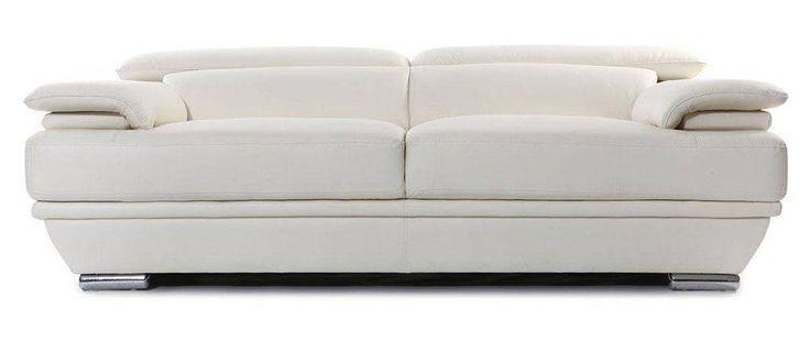 Sofá de cuero diseño tres plazas con cabeceros ajustables blanco EWING