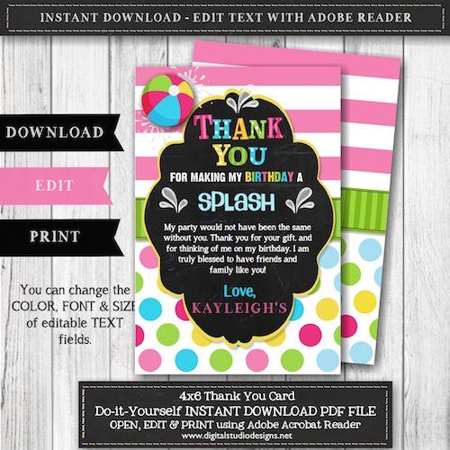 Pool Party Birthday Party Thank You Card – Girl Pool Party Birthday Party Thank You Card – Instant Download – Edit with Adobe Reader – Editable Thank You – GIRL