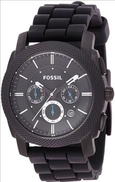 Fossil   FS4487 Black Silicone Bracelet Black Analog Dial Chronograph Watch