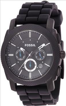 Fossil   FS4487 Black Silicone Bracelet Black Analog Dial Chronograph Watch