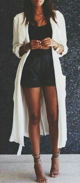 summer outfits White Long Cardigan + Black Romper