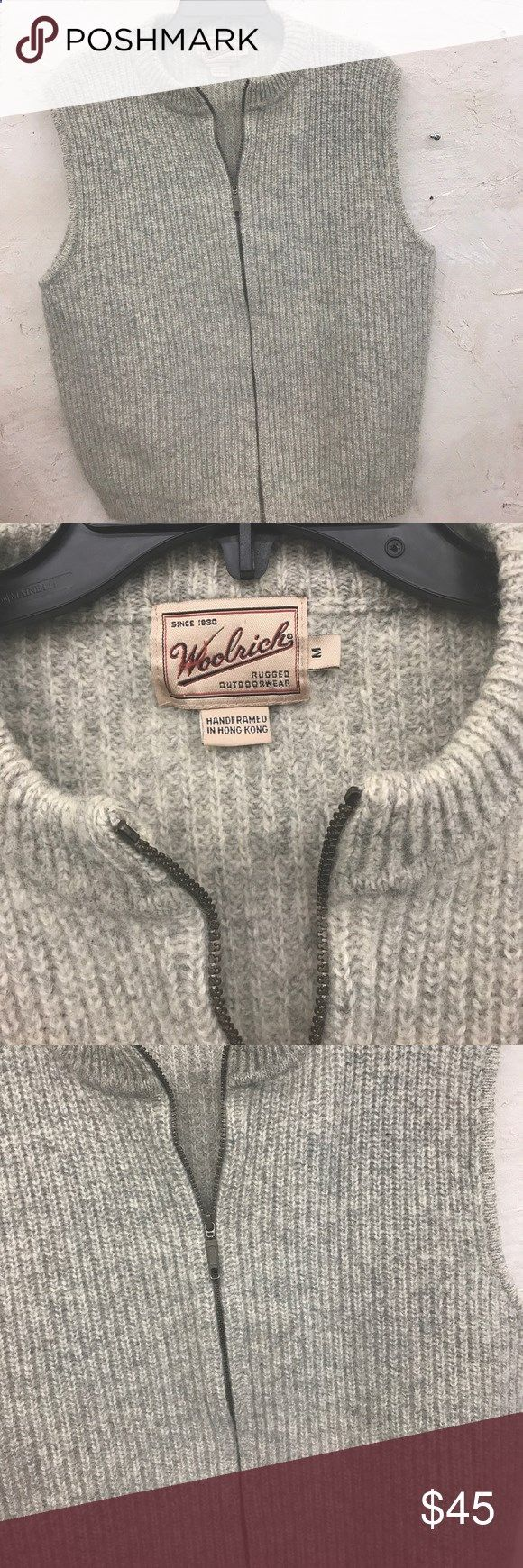Woolrich Mens Vest Excellent condition Mens vest is a creamy oatmeal color. Super super and handsome. Dress it up or down and you are sure to stay warm Woolrich Sweaters Zip Up