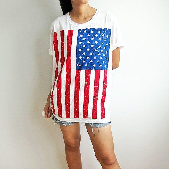 US American Flag Shirt Fourth of July Stars and Stripes T Shirts Men Women TShirt Size M