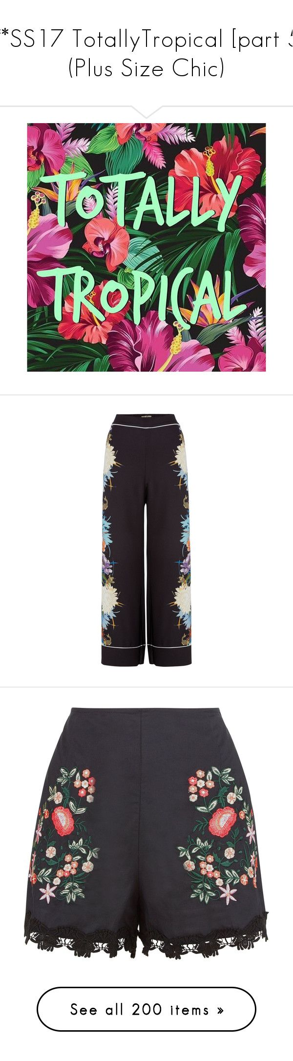 """""""***SS17 TotallyTropical [part 5] (Plus Size Chic)"""" by foolsuk ❤ liked on Polyvore featuring pants, women trousers, wide-leg pants, wide leg trousers, biba, tops, tunics, house of fraser, red top and shirt blouse"""
