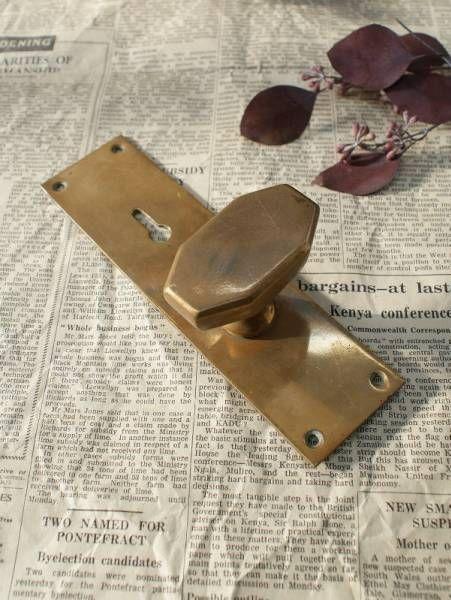 Doorknob イギリスアンティーク真鍮ドアノブ&プレート建具金物1213 インテリア 雑貨 家具 Antique ¥6500yen 〆06月23日
