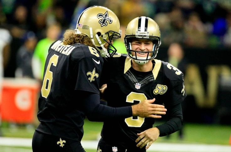 Oct 30, 2016; New Orleans, LA, USA; New Orleans Saints kicker Wil Lutz (3) celebrates with punter Thomas Morstead (6) after a 55 yard field goal during the second quarter of a game against the Seattle Seahawks at the Mercedes-Benz Superdome. Mandatory Credit: Derick E. Hingle-USA TODAY Sports