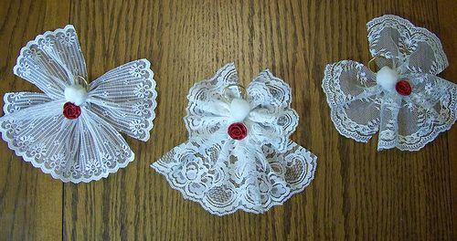Lace angel ornaments.....  http://debrascreativeramblings.blogspot.com/2009/12/lace-angels-tutorial.html