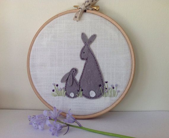 Rabbit hoop art. Nursery hoop art by BoxRoomBazaar on Etsy