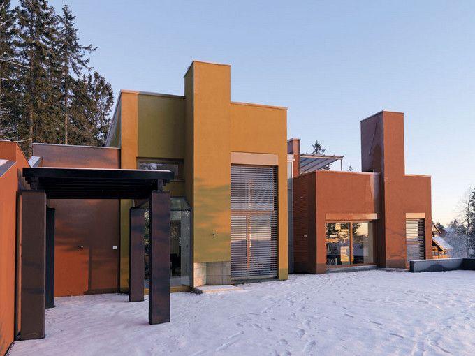 Murverksprisen til Leca-bolig - Villa Grimnes -Huset er et pusset bolighus i Leca med farget puss - murhus - pusset fasade - Leca