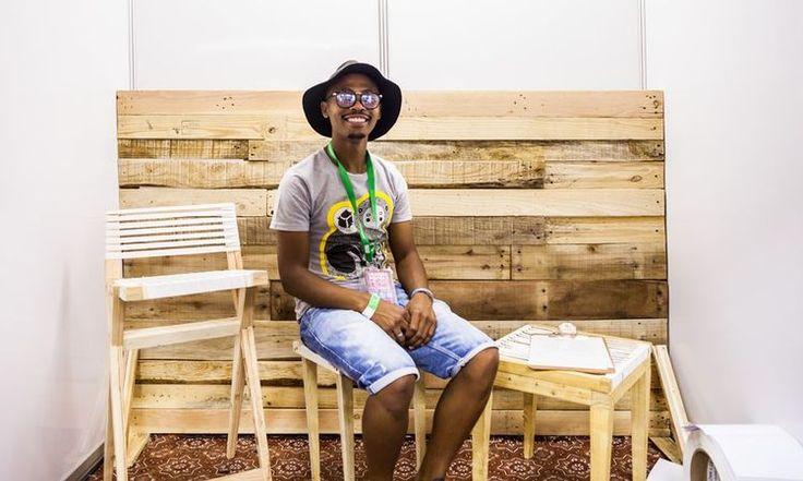 Khayelitsha-based designer Bonga Jwambi uses recycled wood for hid items of furniture  Credit: Sunday Times