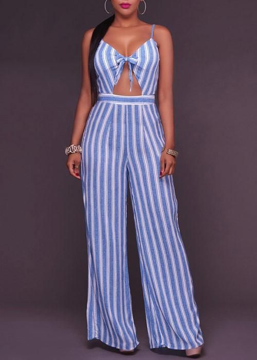 Macacão Pantalona Longo Listrado Azul Com Vazado