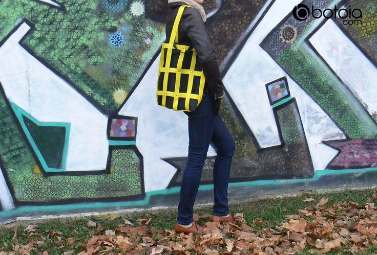yellow hand street bag with eco bag inside version www.botoia.com
