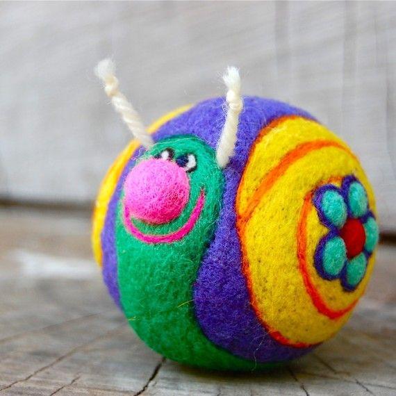 Custom for Letti Needle Felted Summer Snail Ball by asherjasper