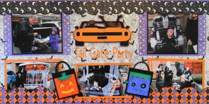 Tail Gate Trick or Treat -  This is a Halloween scrapbook page idea with a tail gate party theme. I used a Cricut car image and loot bags from Creepy Critters. To learn how to make this layout, go to my blog at Halloween Scrapbook 3 - with Fall & Thanksgiving - Me and My Cricut