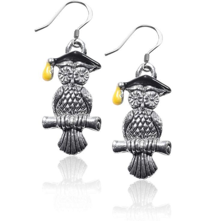Owl Charm Earrings in Silver
