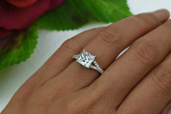 2.25 ctw Princess Cut Split Shank Accented by TigerGemstones