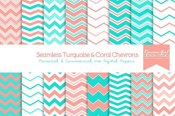 Seamless Turquoise & Coral Chevrons. Patterns