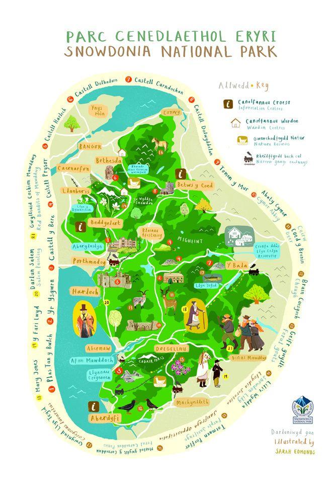 Snowdonia National Park Map - Sarah Edmonds Illustration
