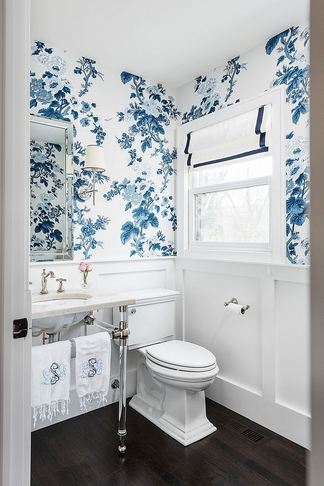 Powder Bathroom Powder Bath Features Classic Wainscoting Blue And