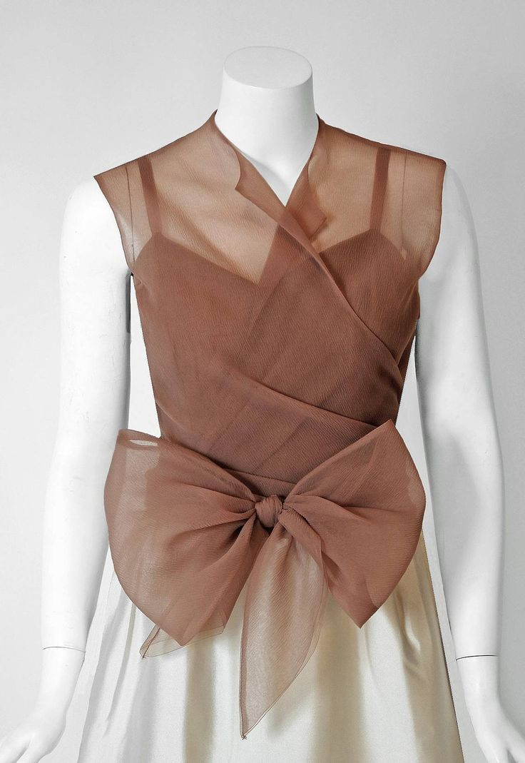 1967 Balenciaga Haute-Couture Ivory Silk & Nude Chiffon Illusion Evening Gown | From a collection of rare vintage evening dresses and gowns at https://www.1stdibs.com/fashion/clothing/evening-dresses/