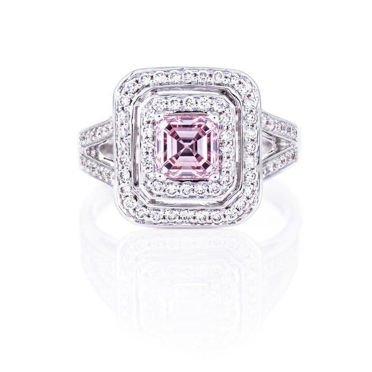 Pink Emerald Cut Diamond double halo ring