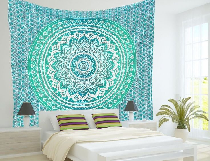Amazon.com - RawyalCrafts-Green Ombre Tapestry, Indian Hippie Tapestry, Wall Hanging, Bohemian Wall Hanging, Mandala Tapestry, New Age Tapestry, Gypsy Tapestry -