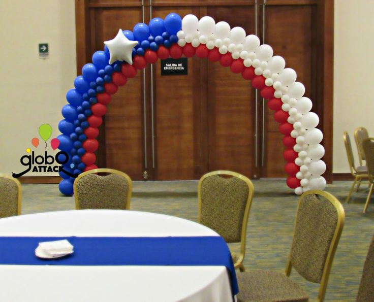 Arco con globos , fiestas patrias