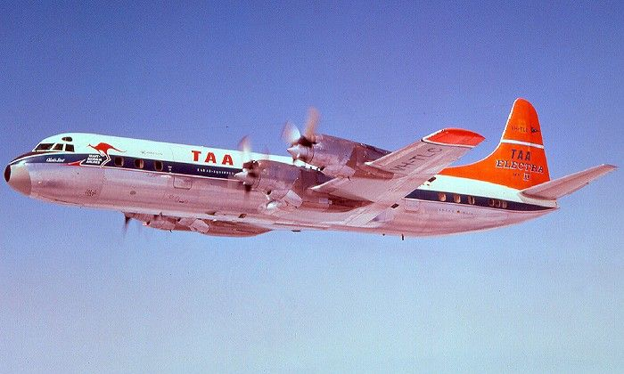 """Trans Australia Airlines (TAA) Lockheed L-188A Electra VH-TLC """"Charles Sturt"""" during a pre-delivery flight over California, circa August 1960. (Photo: R.N. Smith Collection)"""