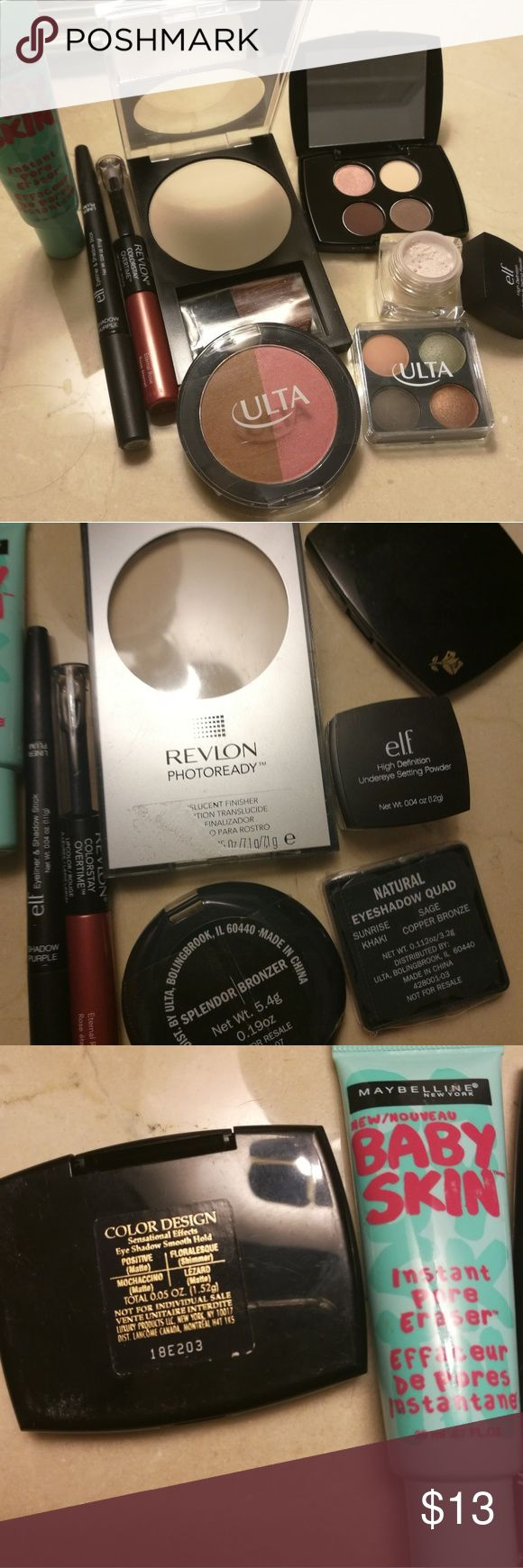 Summer sale! Makeup bundle. FINAL PRICE! Revlon photoready translucent finisher, Lancome eye shadow quad, Maybelline baby skin, elf under eye setting powder, elf shadow and liner stick in purple, Revlon colorstay lip in eternal rose, ulta bronzer/blush duo, ulta eyeshadow quad. Most were used/swatched once except for 2 ulta products never used. Makeup