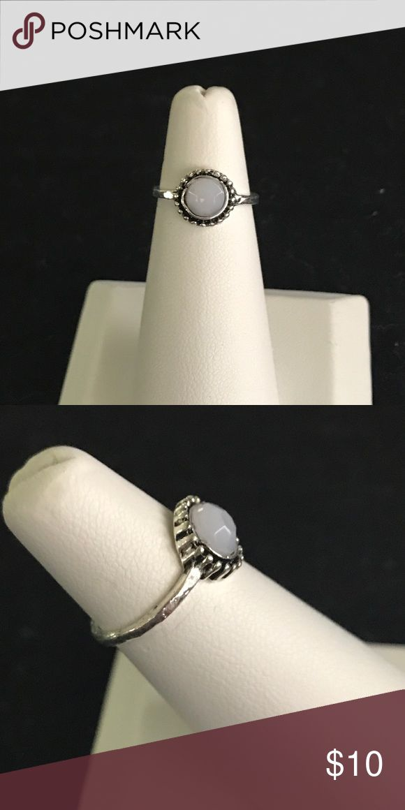NEW!!!! BOHO Style Tibetan Silver Dainty Tibetan Silver Ring, whitish color stone. Costume jewelry. Jewelry Rings
