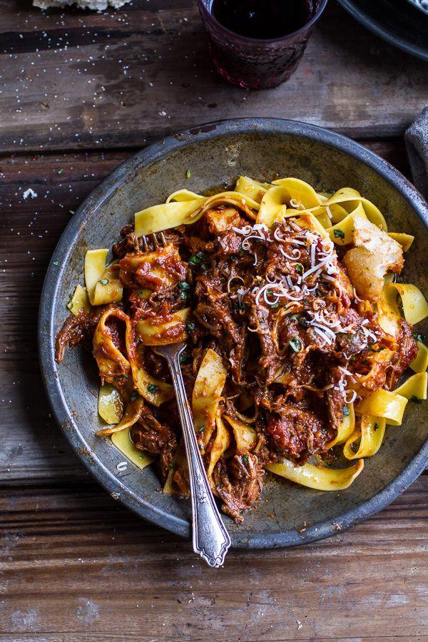Crockpot Sunday Sauce by halfbakedharvest #Short_Ribs #Pasta #Crockpot